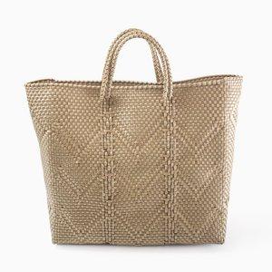 Oaxaca Plastic Woven Handbag in Tan