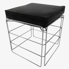 Vintage Chrome Footstool with Cushion