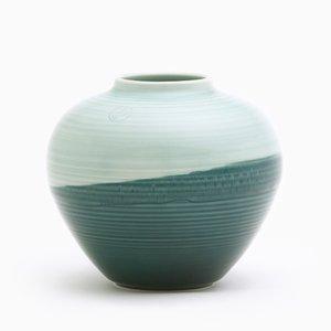 Round Vase in Green & Aqua by Asahiyaki