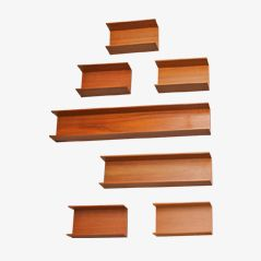 Walnut Wall Shelves by Wilhelm Renz, 1960s, Set of 7
