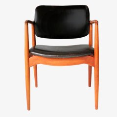 Teak and Leather Captain's Chair by Eric Buck for Ø. Mobler, 1955