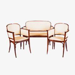 Antike Lehnstühle und Bank von Thonet, 1905, 3er Set