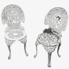 Cast Aluminium Garden Chairs, Set of 2