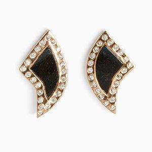 Petit Fin Pave Blue Tiger Eye Earrings by Sara Beltrán