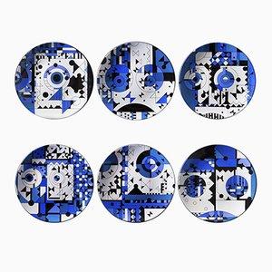 Assiettes Blue Moods en Porcelaine Peinte par Kostas Neofitidis pour Kota, 2016, Set de 6