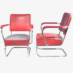 Red Easy Chairs, Set of 2