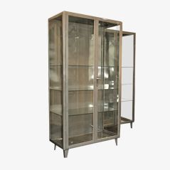 Vintage Steel Display Cabinets, 1940s, Set of 2