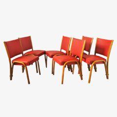 Esszimmerstühle von Steiner, ca. 1950, 6er Set