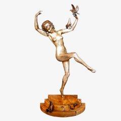 Statua Art Déco in bronzo di Marcel-Andre Bouraine, metà anni '20