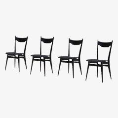 Black Ebonized Wood Dining Chairs, 1970s, Set of 4