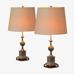 Nickel Plated French Table Lamps, 1970s, Set of 2