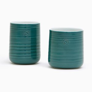 Petroleum Green Tea Cups by Asahiyaki, Set of 2