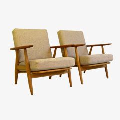 GE-240 Cigar Chairs by Hans Jørgen Wegener for Getama, 1950s, Set of 2