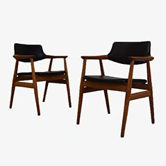 Mid Century Office Chairs by Erik Kirkegaard for Glostrup, Set of 2