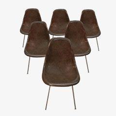 DSR Glasfaser Beistellstühle von Charles Eames für Herman Miller, 1960er, 6er Set
