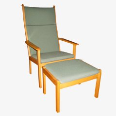 Vintage Easy Chair with Footstool by Hans J. Wegner