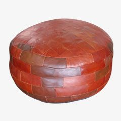 Vintage Patchwork Leather Ottoman
