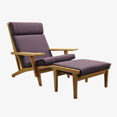 GE 375 Sessel und Fußhocker Set von Hans J. Wegner für Getama