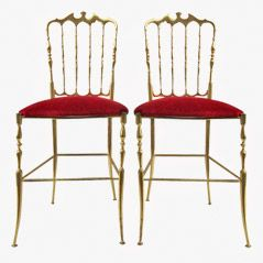 Vintage Solid Brass Chiavari Chairs, Set of 2