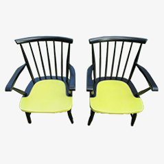 Wooden Armchairs from Pastoe, Set of 2