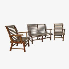 Vintage Outdoor Oak Garden Bench and Two Armchairs