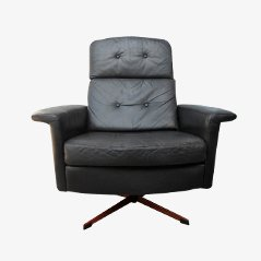 Black Leather Lounge Swivel Chair from Goldsiegel, 1960s