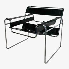 Black Leather Armchair by Marcel Breuer for Gavina, 1970