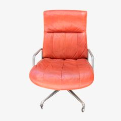Vintage Blonde Leather Office Chair from Tecno, 1970
