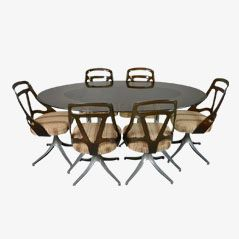 Oval Glass Table & Swivel Chairs Set