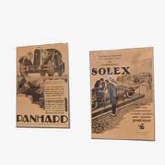Mid Century Solex & Panhard Automobil Werbeplakate, 2er Set