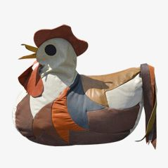 The Rooster Zoomorphic Leather Beanbag