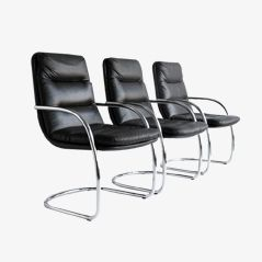 Chromed Office Armchairs, 1970s, Set of 3