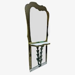 Vintage Marble and Bronze Mirror Console, 1940s