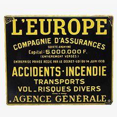 Vintage Emailleschild L'Europe Assurance aus Frankreich