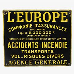Vintage Enamel Sign L'Europe Assurance from France