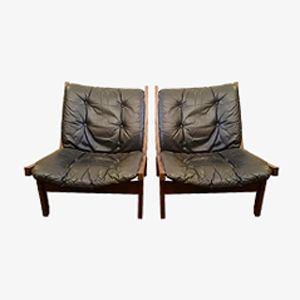 Norwegian Hunter Easy Chairs, Set of 2