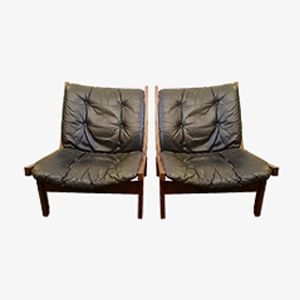Vintage Norwegian Leather & Teak Lounge Chair by Stranda Industries for Bruksbo