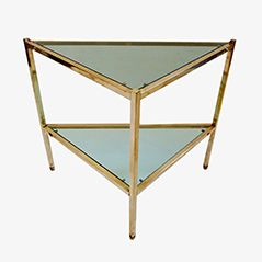 Mid Century Brass and Glass Triangular Side Table, 1950s