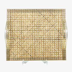 Vintage Rattan Tray from Guzzini