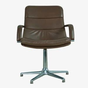 Chaise de Bureau Vintage en Cuir et Aluminium de Artifort