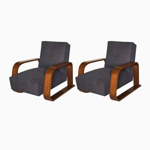 Modernist French Art Deco Lounge Chairs, 1940s, Set of 2