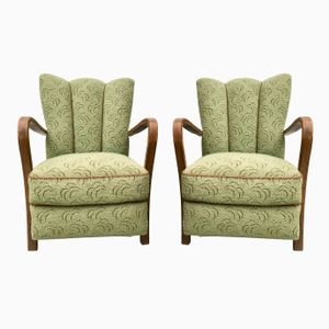 Vintage Art Deco Green Armchairs, Set of 2