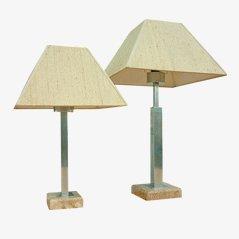 Marmor & Stahl Lampen von Maison Jansen, 2er Set