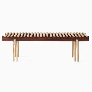 Heights Bench in Ash & Walnut by Alban Le Henry