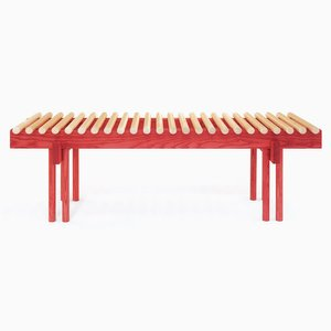 Heights Bench in Ash and Red Stain by Alban Le Henry
