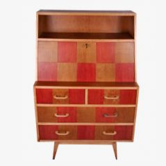 Mid Century Chequered Writing Secretaire