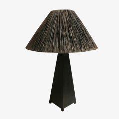 Geschnitzte Französische Vintage Holzlampe