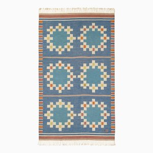 Midcentury Finnish Carpet in Blue by Uhra-Beata Simberg-Ehrström