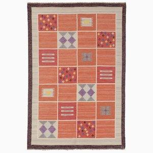 Vintage Red Swedish Flatweave Carpet