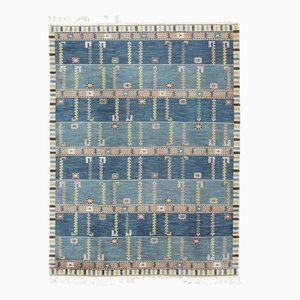 Swedish Pile Rug in Blue and Beige